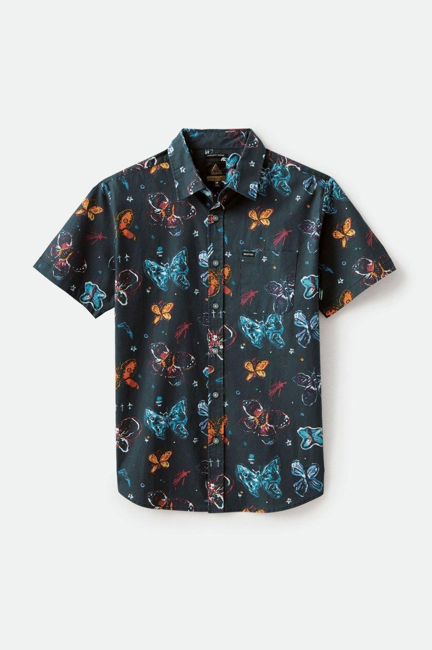 BRIXTON BB Bloom S/S Button Up Black MENS APPAREL - Men's Short Sleeve Button Up Shirts Brixton