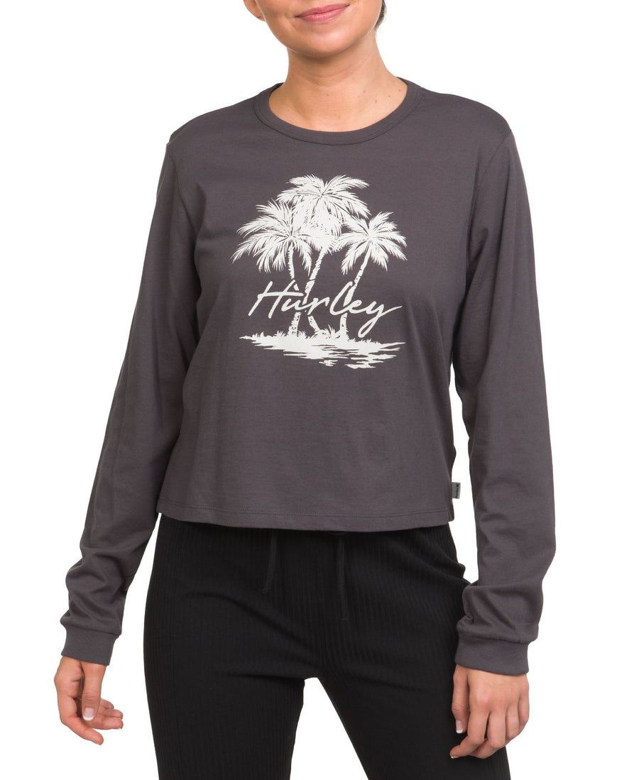 HURLEY Scripted Palms L/S T-Shirt Women's Thunder Grey WOMENS APPAREL - Women's Long Sleeve T-Shirts Hurley
