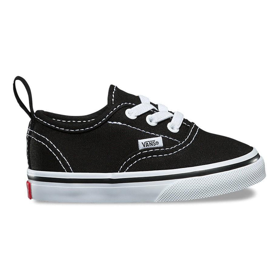 VANS Authentic Elastic Shoes Toddler Black/True White FOOTWEAR - Youth and Toddler Skate Shoes Vans