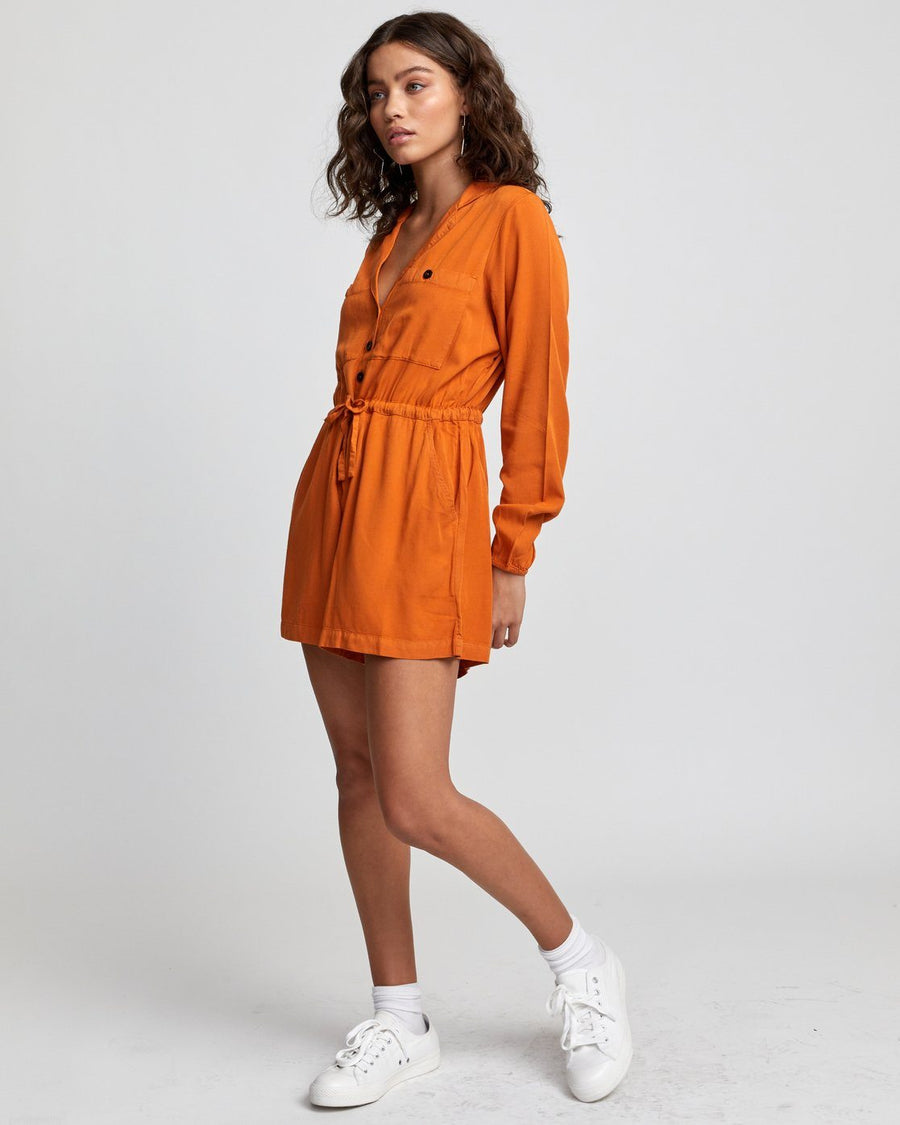 RVCA Desert Daze Long Sleeve Romper Women's Dark Orange WOMENS APPAREL - Women's Jumpers and Rompers RVCA S