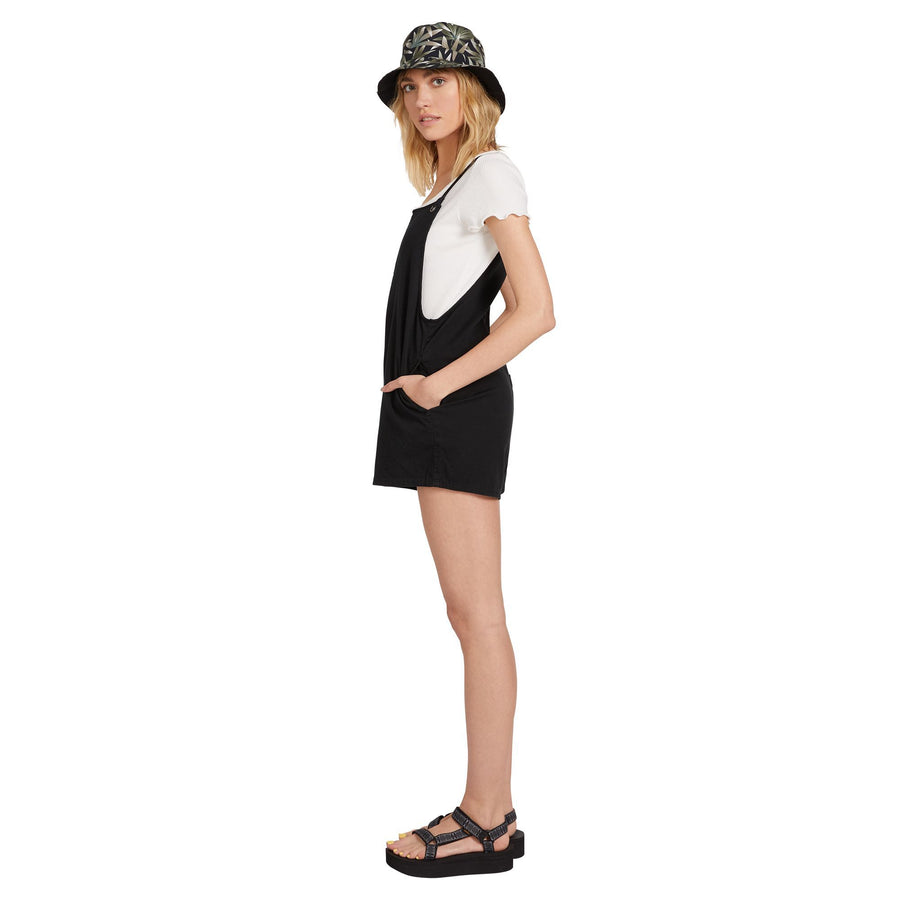 VOLCOM Coco Twill Romper Women's Black WOMENS APPAREL - Women's Jumpers and Rompers Volcom S