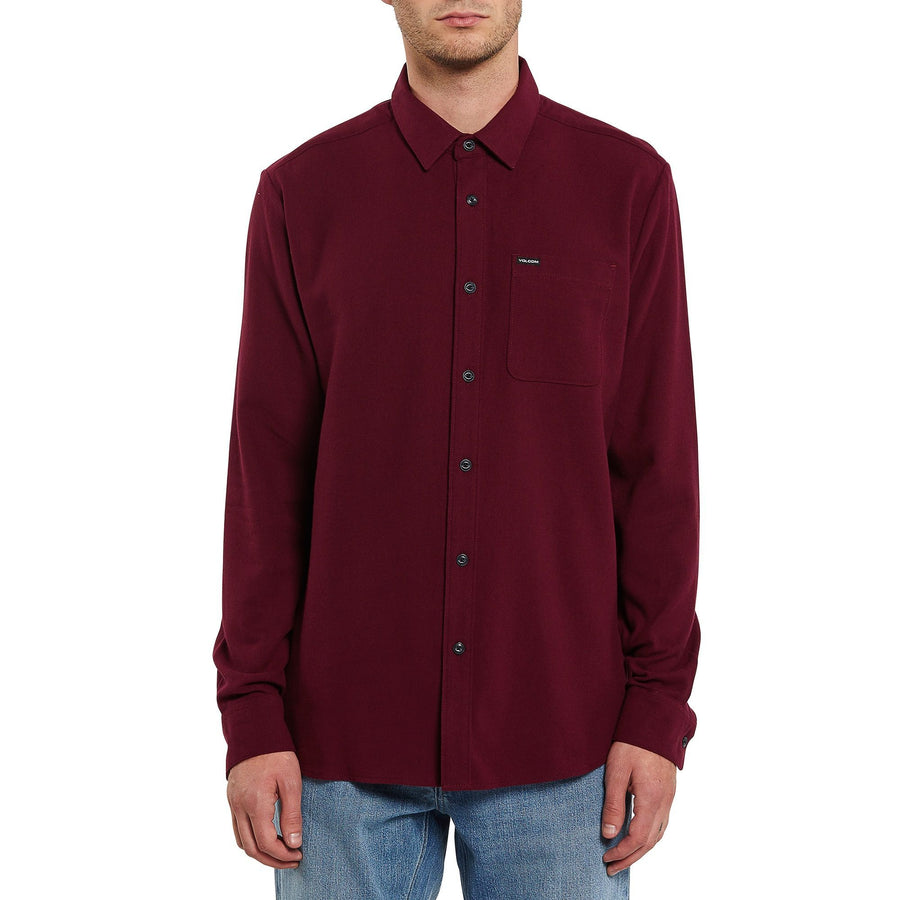 VOLCOM Caden Solid L/S Button Up Port MENS APPAREL - Men's Long Sleeve Button Up Shirts Volcom
