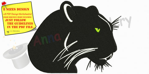 Black Panther machine embroidery,wild animals design, Machine embroidery design,filled stitch, panther, puma, 8 sizes, 8 formats