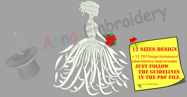 Bride Dress Wedding Embroidery Design-Machine Embroidery-Instant Download-Filled Stitch
