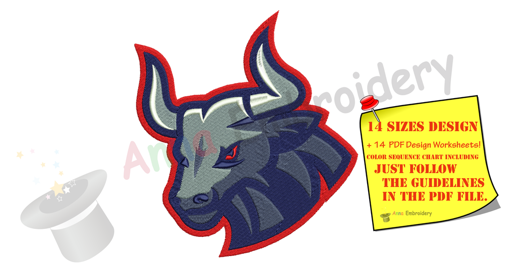 Bull Embroidery Design-Bull Head-Machine Embroidery Patterns-Instant Download-PES