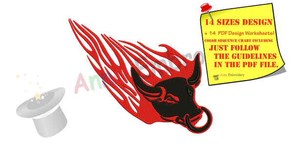 Bull Embroidery Design-Mascot Embroidery-Flames Embroidery-Embroidery Patterns-Instant Download-PES