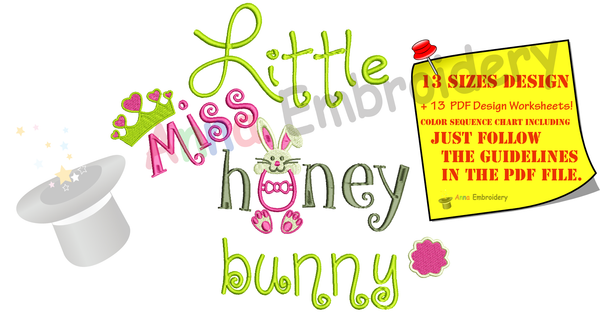 Easter Bunny Embroidery Design-Little Miss Honey Bunny Embroidery-Kids Embroidery- -Machine Embroidery Patterns-Instant Download-PES