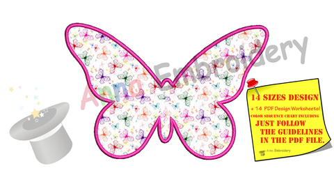 Butterfly Applique Design -Machine Applique Embroidery Patterns-Instant Download-PES