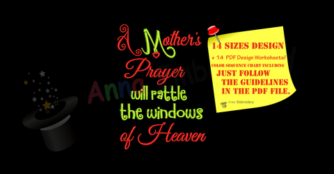 Cancer Awareness Embroidery Design-Quotes Embroidery-A mother's Prayer Embroidery Design-Embroidery Patterns-Instant Download-PES