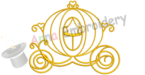 Carriage Embroidery Design-Princess Carriage Embroidery Design-Fairy Tale-Patterns-Instant Download-PES