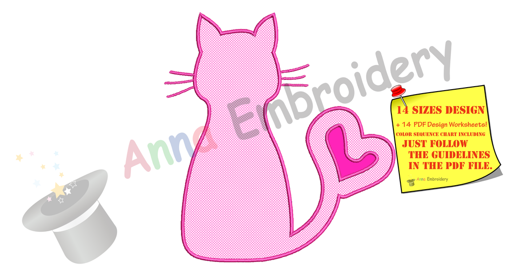 Cat Applique Design Kitty Love Applique Design Cat Silhouette