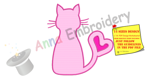 Cat Applique Design, Kitty Love Applique Design, Cat Silhouette Applique Design-Machine Applique Embroidery Patterns-Instant Download-PES