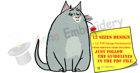 Chloe Cat-Fat Cat Embroidery Design-Machine Embroidery-Instant Download-Filled Stitch