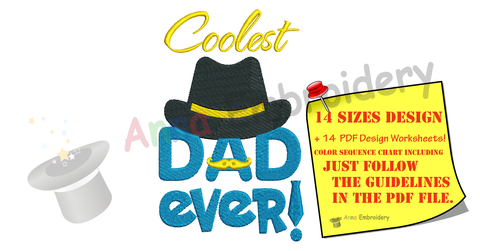 Dad Embroidery Design-Cooolest Dad Ever- Father s Day Machine Embroidery Patterns-Instant Download-PES