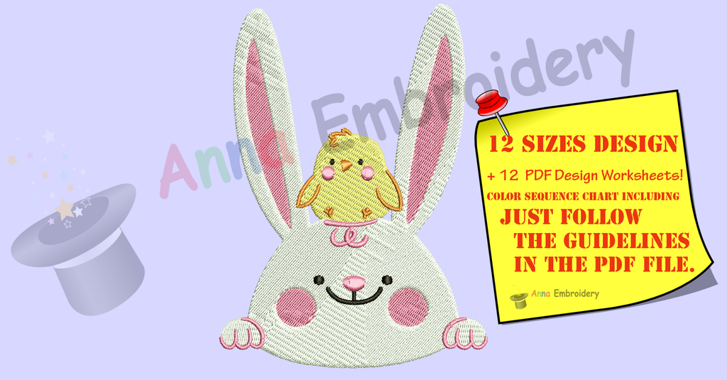 Cute Bunny with Chicken Embroidery Design- White Rabbit Embroidery-Easter Patterns-Baby Embroidery -Machine Embroidery -Instant Download-PES
