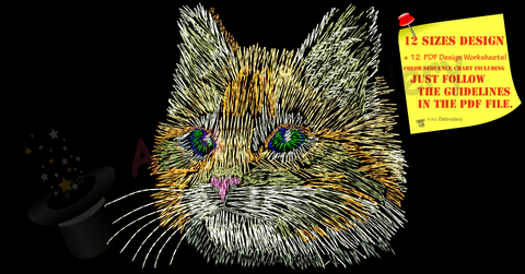 Cat Embroidery Design-Rainbow Kitty Pattern-Cat Sketch-Instant Download-PES
