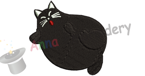 Free Embroidery Fat Cat, Free Black Kitty Embroidery Design,Free Machine Patterns, Instant Download