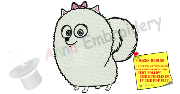 Gidget Dog Embroidery Design- ‎Puff Ball- Machine Embroidery Patterns-Instant Download