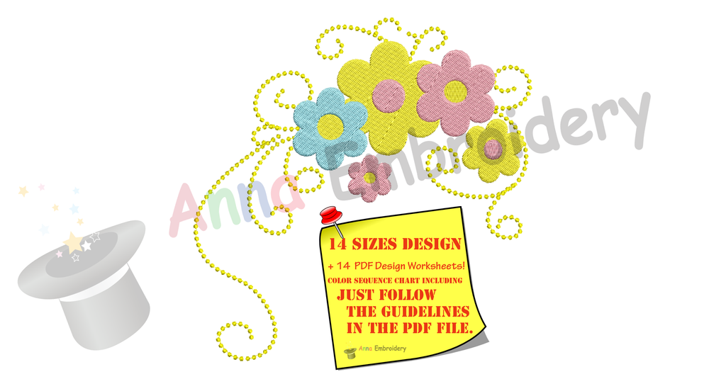 Flowers Embroidery Design- Flowers Frame Decoration Design-Floral border  Embroidery-Machine Embroidery Patterns-Instant Download