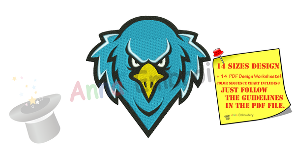 Eagle Embroidery Design-Eagle Head Embroidery-Bird Embroidery Design-Mascot Embroidery-Embroidery Patterns-Instant Download-PES