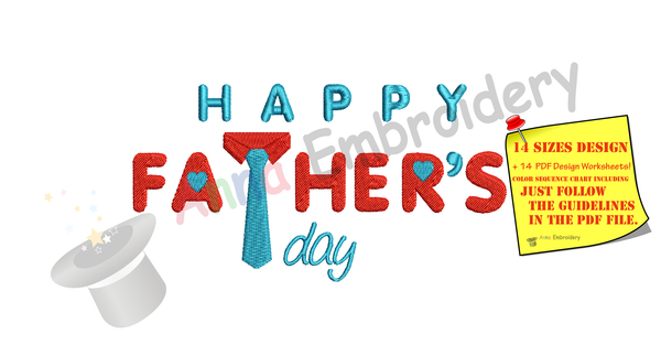 Happy Father's Day Embroidery Design-Best Dad- Dad Birthday Machine Embroidery Patterns-Instant Downloads