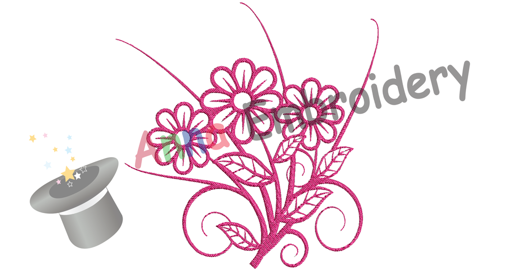 Free Embroidery Flowers Bouquet, Free Pink Flowers Embroidery Design,Free Machine Patterns, Instant Download