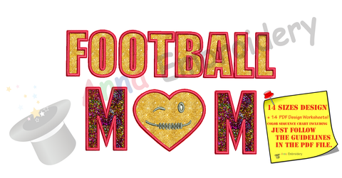 Football Mom Applique Design-Sports Applique-Football Applique-Machine Applique Embroidery Patterns-Instant Download-PES