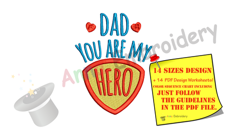 Dad you are my Hero Embroidery Design-Best Dad- Superhero Machine Embroidery Patterns-Instant Download-PES