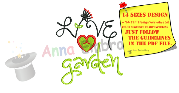 Live Love Garden Embroidery Design