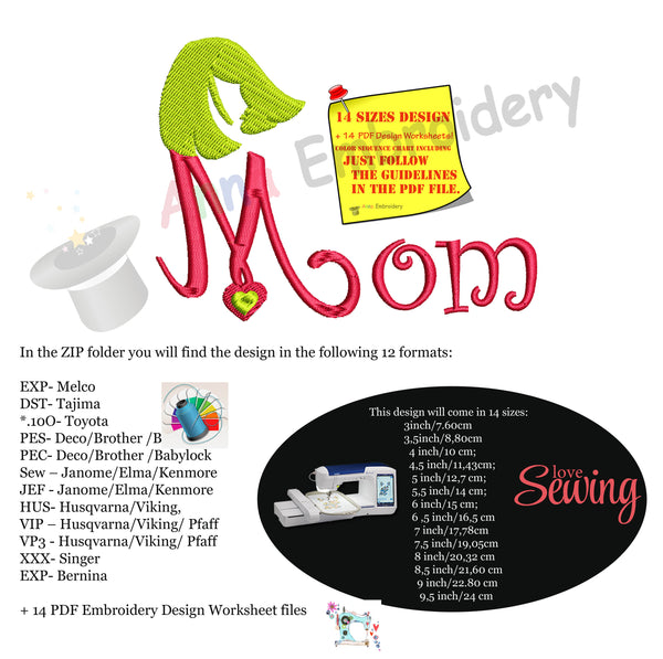 Mom Embroidery Design- Mother's Day Embroidery-Machine Embroidery Patterns-Instant Download-PES