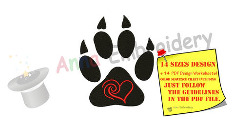 Bear Paw Embroidery Design-Pets Embroidery-Animals Embroidery Design-Sports Embroidery-Embroidery Patterns-Instant Download-PES