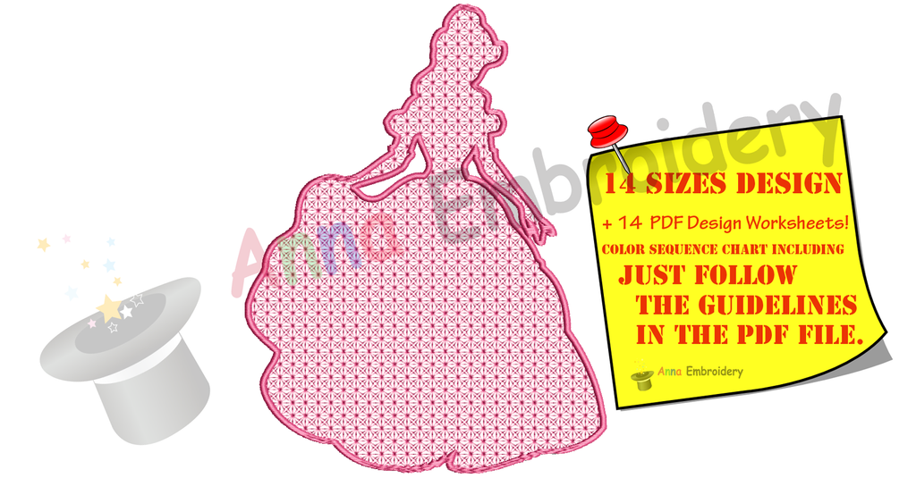 Lace Motif Fairy Princess Embroidery Design-Silhouette - Queen Embroidery-Machine Embroidery Patterns-Instant Download-PES