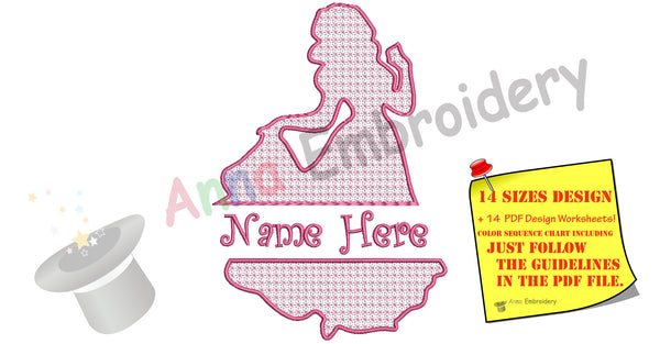Princess Embroidery Design-Queen Silhouette -Motif Lace Embroidery-Machine Embroidery Patterns-Split Design-Instant Download-PES