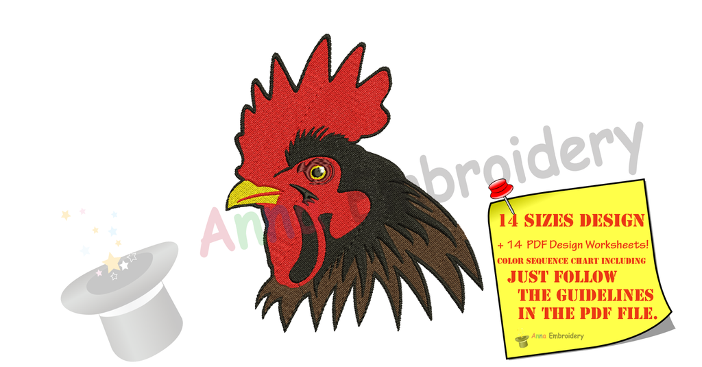 Rooster Embroidery Design-Bird Embroidery Design-Farm Embroidery Design-Embroidery Patterns-Instant Download-PES