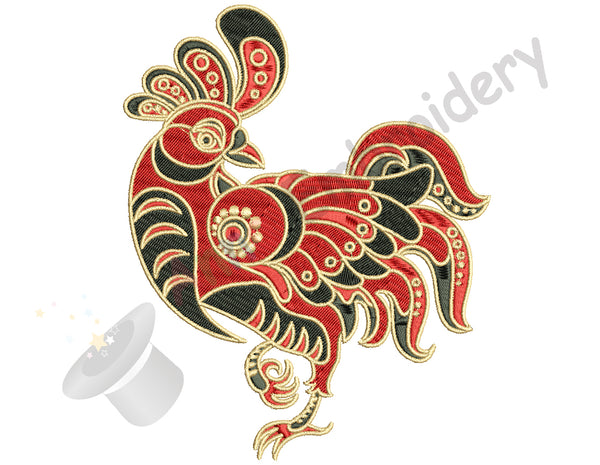 Rooster Embroidery Design-Chicken-Farm Bird-Machine Patterns-Instant Download