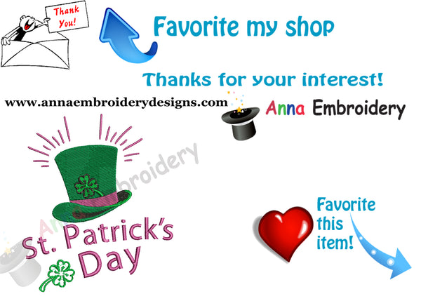 St. Patrick's Day Embroidery Design-Hat-Lucky-Machine Patterns-Instant Download
