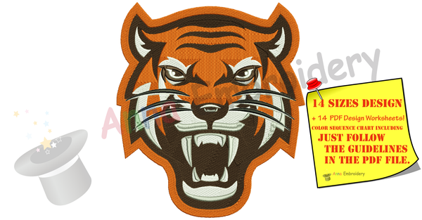 Tiger Head Embroidery Design-Wildlife Embroidery-Machine Embroidery Patterns-Instant Download-PES