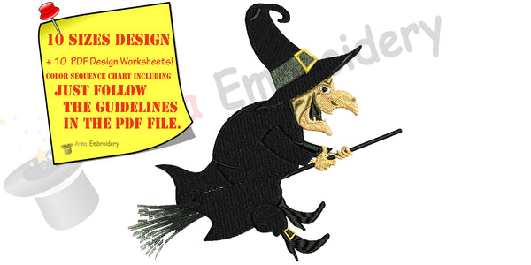 Halloween, Witch Embroidery Design,magic,Witchcraft,cartoon,machine patterns,filled stitch,patterns,10 sizes, 9 formats