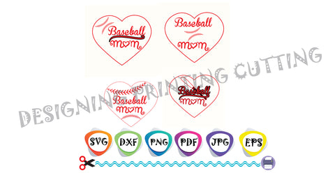 Baseball Mom SVG Cut Files-Baseball SVG-Sports Svg-Svg Bundle-Silhouette Cutting File- SVG file for Cricut-Eps- Dxf- Pdf