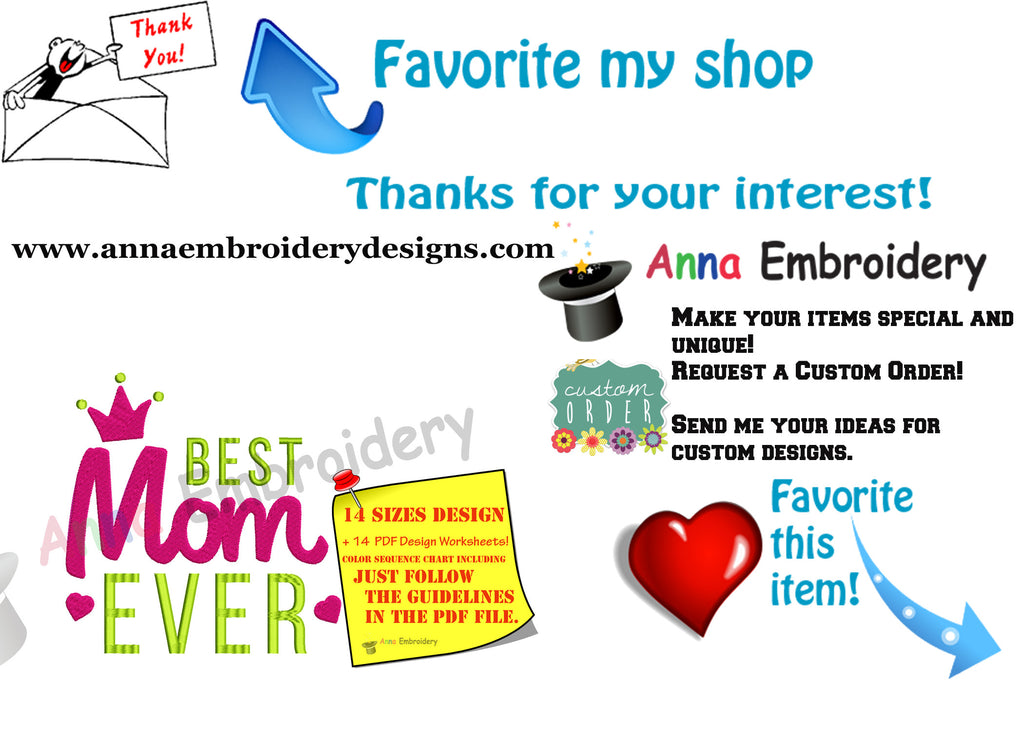 Best Mom Ever Embroidery Design Mothers Day Embroidery Machine