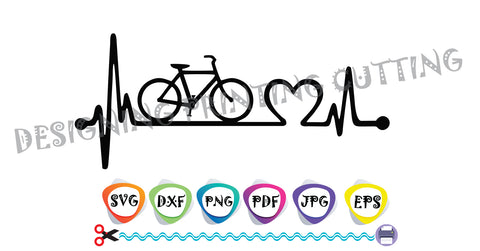 Bike Love SVG-Bicycle-Lifeline-Cut Files-EKG Svg-Bikers Quote Svg-Heart Svg- Silhouette Cutting- Svg file for Cricut-Eps- Dxf- Pdf