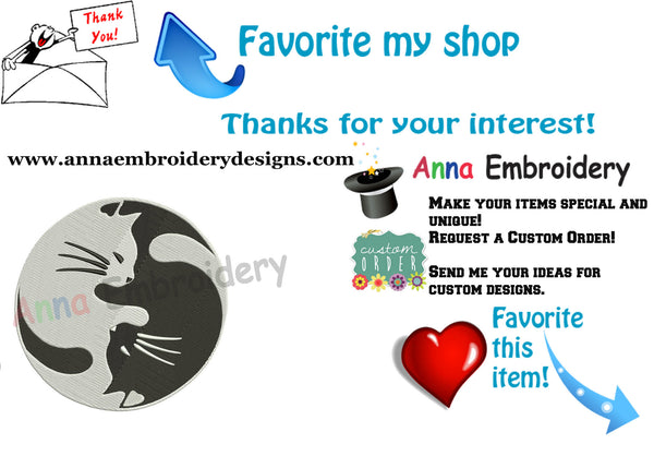 Cat Embroidery Design-Yin Yang cats Embroidery-Animals Embroidery Design-Symbols Embroidery-Embroidery Patterns-Instant Download-PES