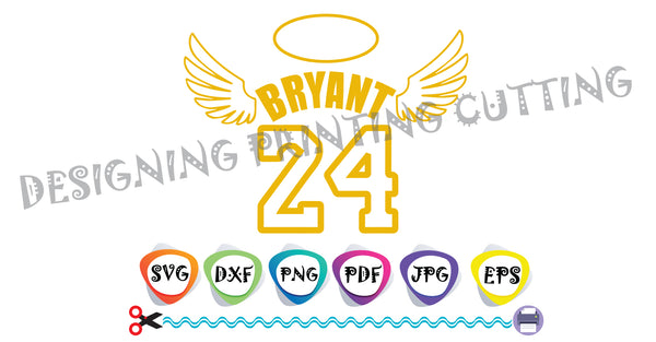 24 svg Kobe-Kobe Bryant Svg-Lakers KOBE-Basketball Bryant-T-shirt svg- Silhouette Cutting- Svg file for Cricut-Eps- Dxf- Pdf-Kids svg