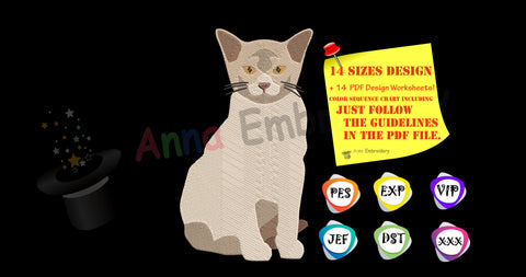 BURMESE CAT EMBROIDERY-Cat Embroidery Design-Animals Embroidery Design-Kitty-Pets Embroidery-Embroidery Patterns-Instant Download-PES