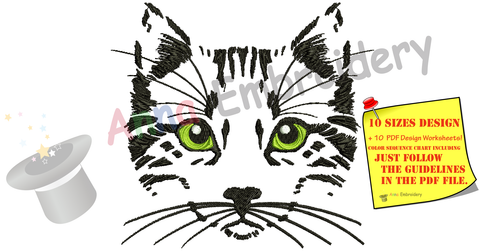 Cat with Green Eyes Embroidery Design-Black Cat sketch - Machine Embroidery Patterns-Instant Download-PES
