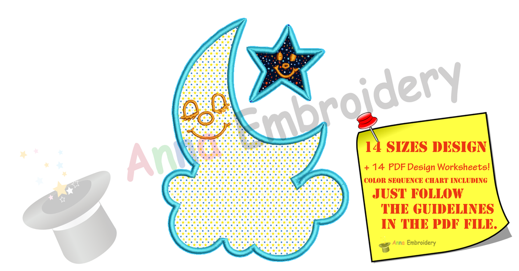 Moon Applique Design-Cloud Applique -Star Applique -Machine Applique Embroidery Patterns-Instant Download-PES