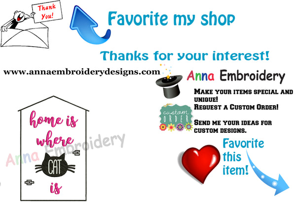 Cat Embroidery Design-Quotes Embroidery-Home is Where Cat is Embroidery Design-Embroidery Patterns-Instant Download-PES