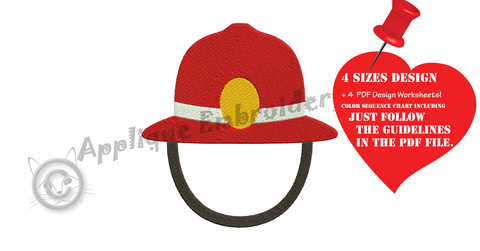 Free Firefighter Hat Embroidery Design, Free Firefighter Helmet Embroidery Design,Free Machine Patterns, Instant Download