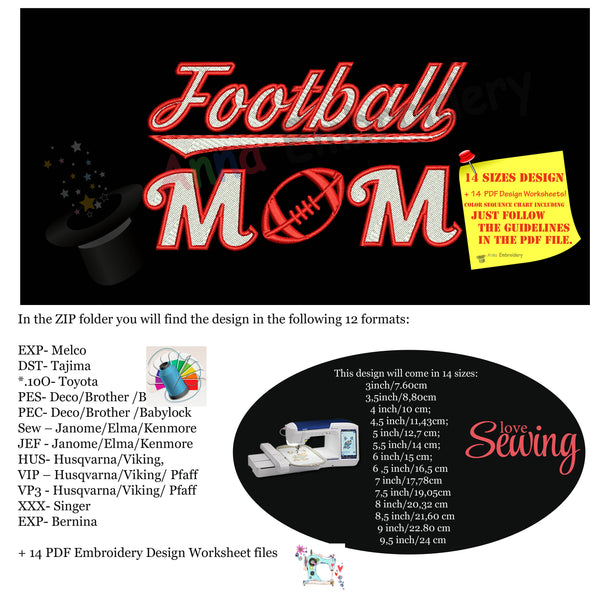 Football Mom Embroidery Design- Sports Embroidery-Football Embroidery-Family Fan Mom-Machine Embroidery Patterns-Instant Download-PES