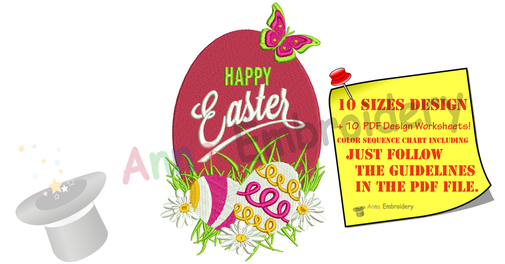 Happy Easter Embroidery Design Easter Egg Butterfly Flowers Machine